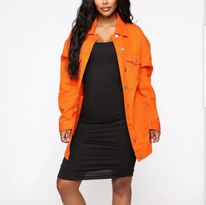 Fashion nova orange denim jacket (New)